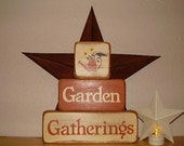 Ready to ship * Primitive, Garden Gatherings ,Stacking, Word Art, Wood Blocks
