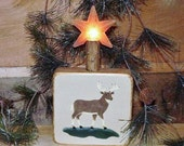 Ready to ship * Deer Woodsy Block Candle Light