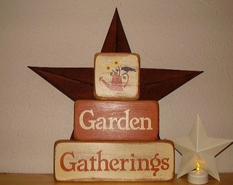 Ready to ship * Primitive, Garden Gatherings ,Stacking, Word Art, Wood Blocks