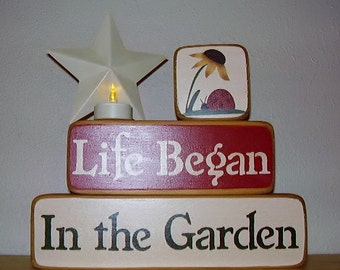 Ready to ship * Garden Wood Blocks, Life Began In the Garden, Word Art