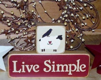 Ready to ship * Wood Blocks, Live Simple with Sheep & Crow, Primitive, Country, Word Art