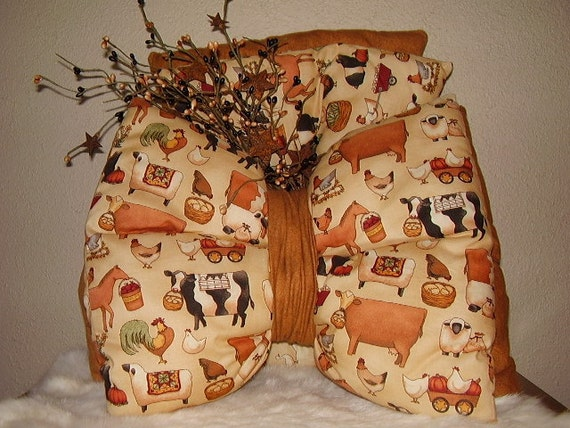 Ready to ship * Accent Bow Pillows ,Prim Country Barnyard