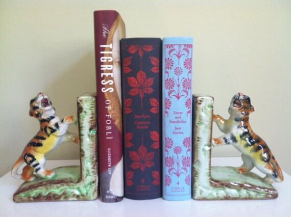 Vintage Ceramic Tiger Bookends