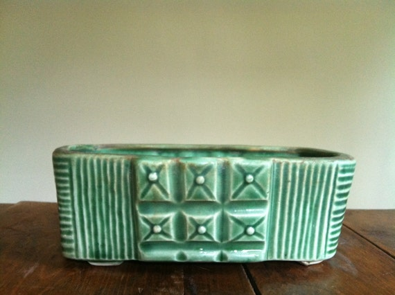 SALE - Vintage Sea Foam Green Pottery Planter