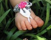 Baby Barefoot Sandals (12-18mo.)-Black & White