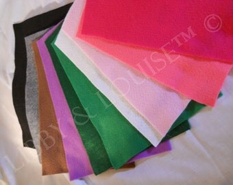 CRAFT FELT - 10 pieces. 1 of each coior pictured