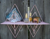 Vintage Shabby Chic PINK 50's Shelf Diamond Pattern Harlequin Argyle Style Bathroom - Vanity - Office