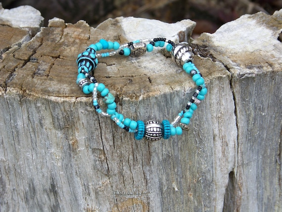 Turquoise, Black, and Silver Toned Double Strand Elastic Bracelet