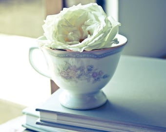 Teacup and Rose photo Digital Download Fine Art Photography teacup white rose morning light print still life wall art decor