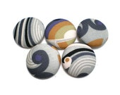 Fabric Covered Buttons Beach Waves Handmade Buttons Pack of 5 Black White Grey Purple Mustard Yellow Olve Green