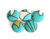 Fabric Covered Buttons Handmade Buttons Pack of 5 Aqua Blue White Olive Green Summer Spring