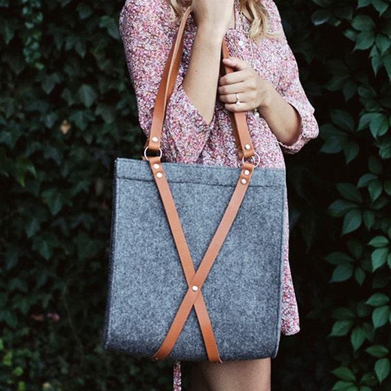 Felt Bag With Leather Handles - FOX BAG