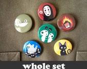 "Totoro & Studio Ghibli - 6 buttons - 1.5"""