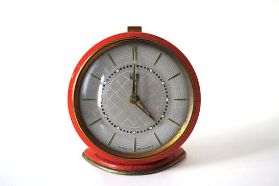 SALE Vintage red RUHLA alarm clock from Germany