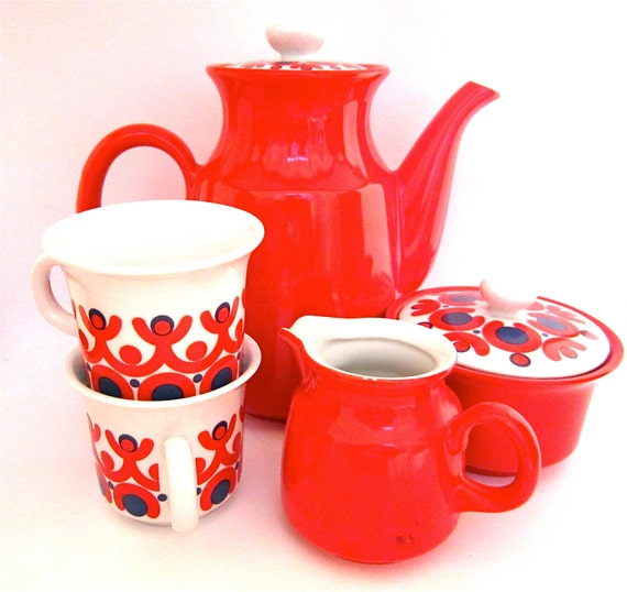SALE- Red retro coffee set from East Germany
