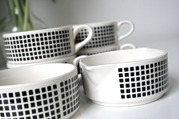 Six Piece Retro East German Black and White Coffee Set- includes 4 cups, 1 milk pourer, 1 sugar bowl