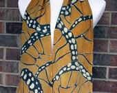 Butterfly wings Monarch Pattern Orange and Black Silk Scarf  - Serti