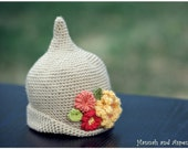 "Crochet elf hat - crochet pixie hat - crochet flower hat - ""Little pixie hat with flowers ""-  3-6 month size"