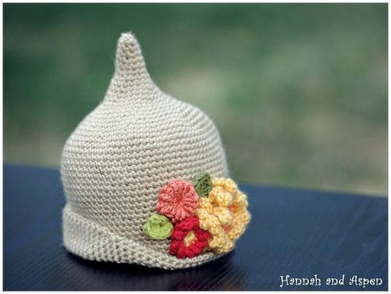 """Crochet elf hat - crochet pixie hat - crochet flower hat - """"Little pixie hat with flowers """"-  3-6 month size"""