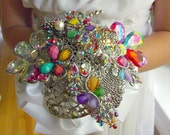 """7"""" Custom Design Multi-color Brooch Bouquet with Jewelry Finds, Ivory wrap"""