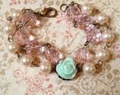 Children's/girl's rose, pearl, and pink 2 strand bead bracelet