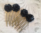Black rose hair combs