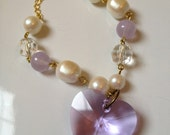 Children's/girl's vintage baroque pearl and crystal heart bracelet