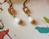 Vintage rosalin and white earring