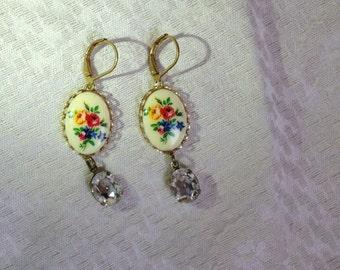 Vintage floral and crystal earrings