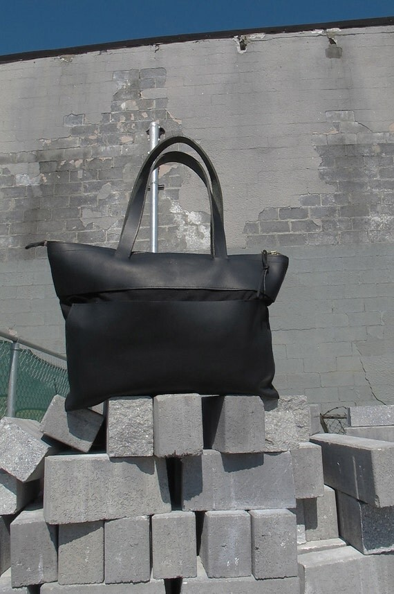 black leather and waxed organic canvas tote