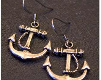 ANCHOR Silver Colored Dangle Earrings by Watto's Wife  / Anchors / Navy / Rockabily/ Nautical Earrings / Gift for Navy Wife / Anchor Dangles