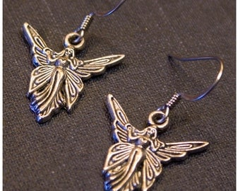FAIRY  Silver Colored Dangle Earrings by Watto's Wife / FREE shipping in US
