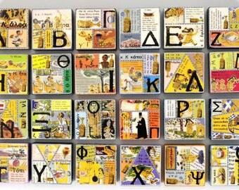 "Alphabet Alfavitari Abc art - Letter Lamda - Greek letters ""alpha.  .  .  omega"" in Collage - Original Art with Mixed Media Construction."