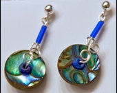 Pearlized Silver Tone Disc Earrings with Blue Tubes and Silver Tone Posts