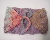 Hand Knitted Adjustable Variegated Lavender Entrelac Skiband or Neckwarmer