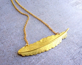 Feather necklace - Gold feather necklace, Leaf necklace, Indian jewelry, Everyday necklace, Dainty gold necklace