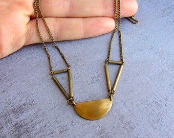 Antique brass geometric chocker necklace. Art deco choker chain necklace.