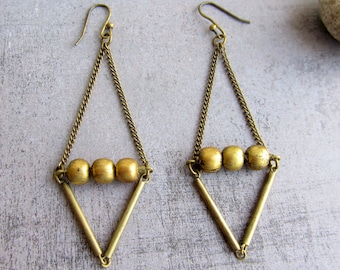 Geometric antique gold brass triangle long earrings. Brass beads. Dangle earrings