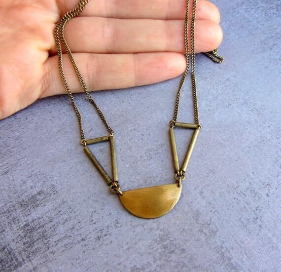 Antique brass geometric chocker necklace. Art deco choker chain necklace.