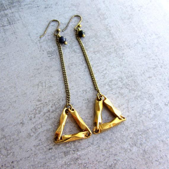 Geometric triangle golden long earrings. Black aventurine beads. Dangle earrings