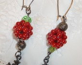 Longer dramatic earrings with cross charms antiqued silver green faceted beads red filigree long earwires crosses gunmetal silver