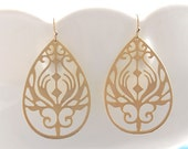 Peacock Earring in Gold - Filigree Drops on Gold Filled Earwires - Gold Peacock Earring - Teardrop Earring Filigree Large Gold Drop