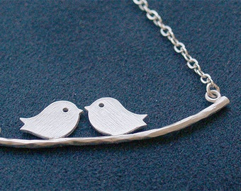 Silver Lovebirds Necklace - Matte Birds on 925 Sterling Silver Chain - Personalized Jewelry - Initial Stamp - Sparrows