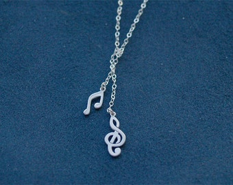 Music Notes Necklace - The Music Lover Lariat in Silver - Treble Clef and Music Note on 925 Sterling Silver Chain