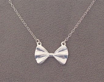 Silver Bow Necklace - Silver Finished Bow on 925 Sterling Silver Chain