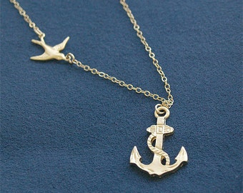 SALE - Gold Anchor Necklace - Anchor Necklace with Swallow in Gold - Sailor Necklace - Nautical - Gold Filled Sailing Sailor Navy Jewelry