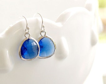 True Blue Drops Earrings in Silver - Royal Blue Earrings - Cobalt Blue Earrings - Sterling Silver Earwires - Gift, Bridesmaids Earrings