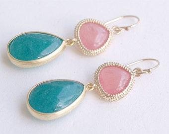 Pink and Green Earrings - Drop Earrings - Bezel Set Jade- Gold Filled Earwires - Gifts, Summer Jewelry