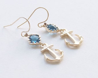 Gold Anchor Earrings - Navy Nautical Dangle Earrings - Gold Filled Earwire - Navy Stone - Nautical - Navy Mom Gift - Gold Anchor Earrings