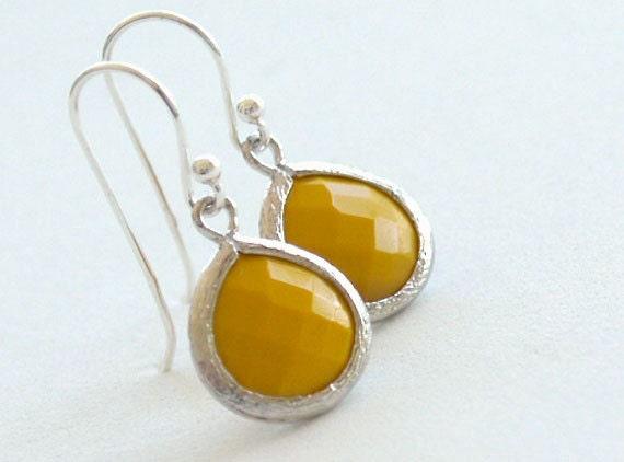 Bold Yellow Drop Earrings in Silver - Mustard Drop on Sterling Silver Earwires